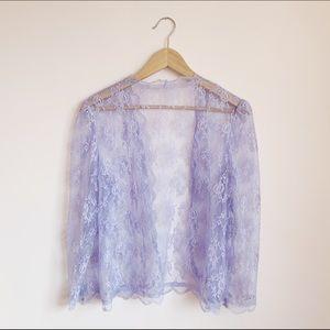 Tops - sheer purple lace cardi